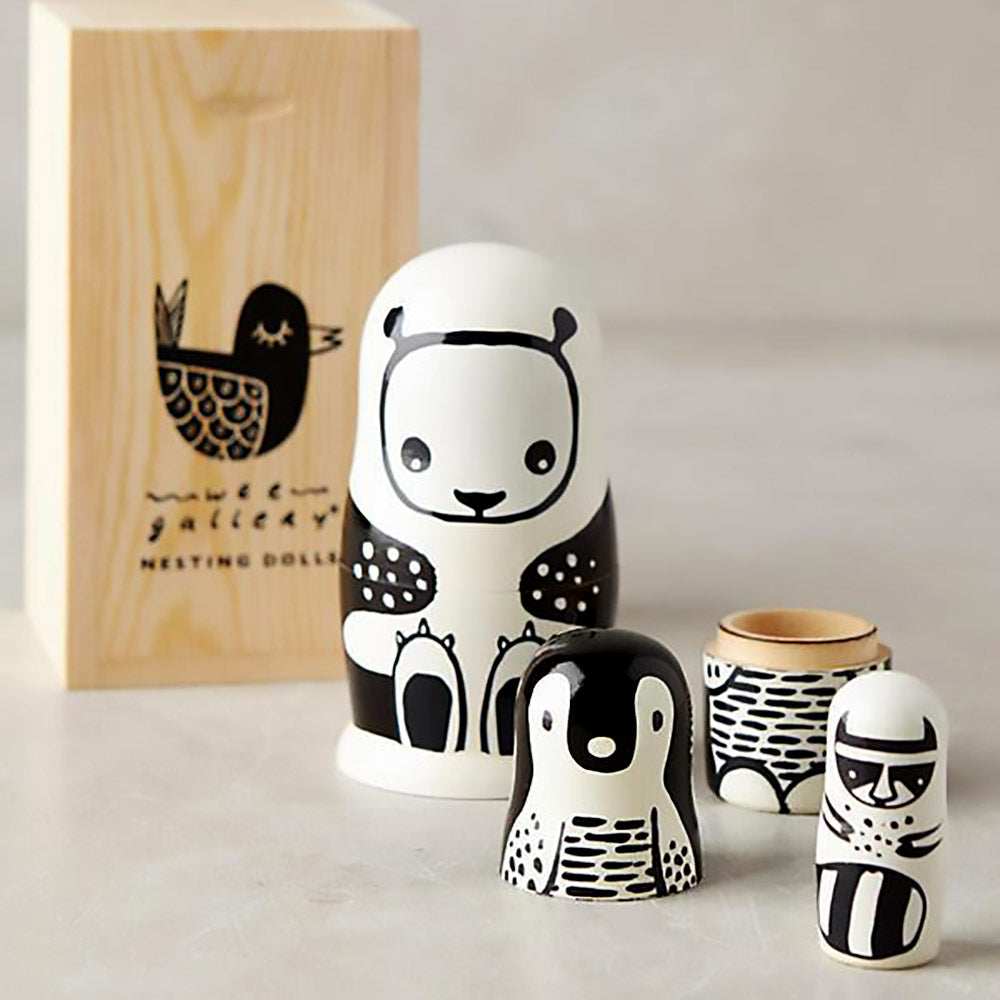 Wee Gallery Black and White Animal Nesting Dolls on DLK | designlifekids.com