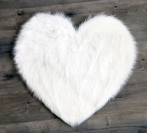Faux Sheepskin Heart Rug