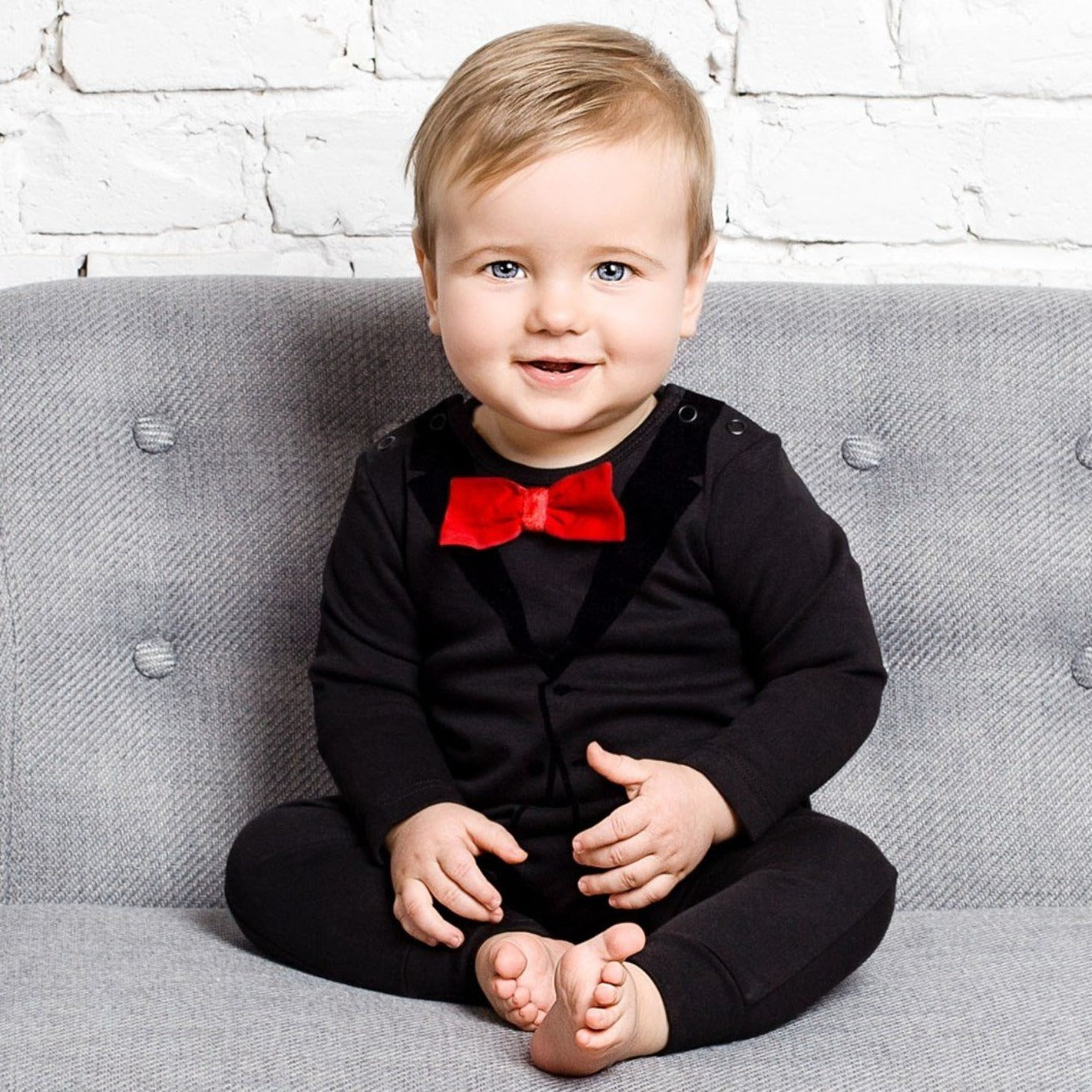 86ad54a9b43 The Tiny Universe Casual Suit Black Tuxedo Romper on DLK