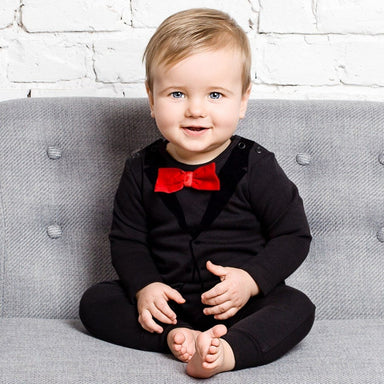 The Tiny Universe Casual Suit Black Tuxedo Romper on DLK | Designlifekids.com