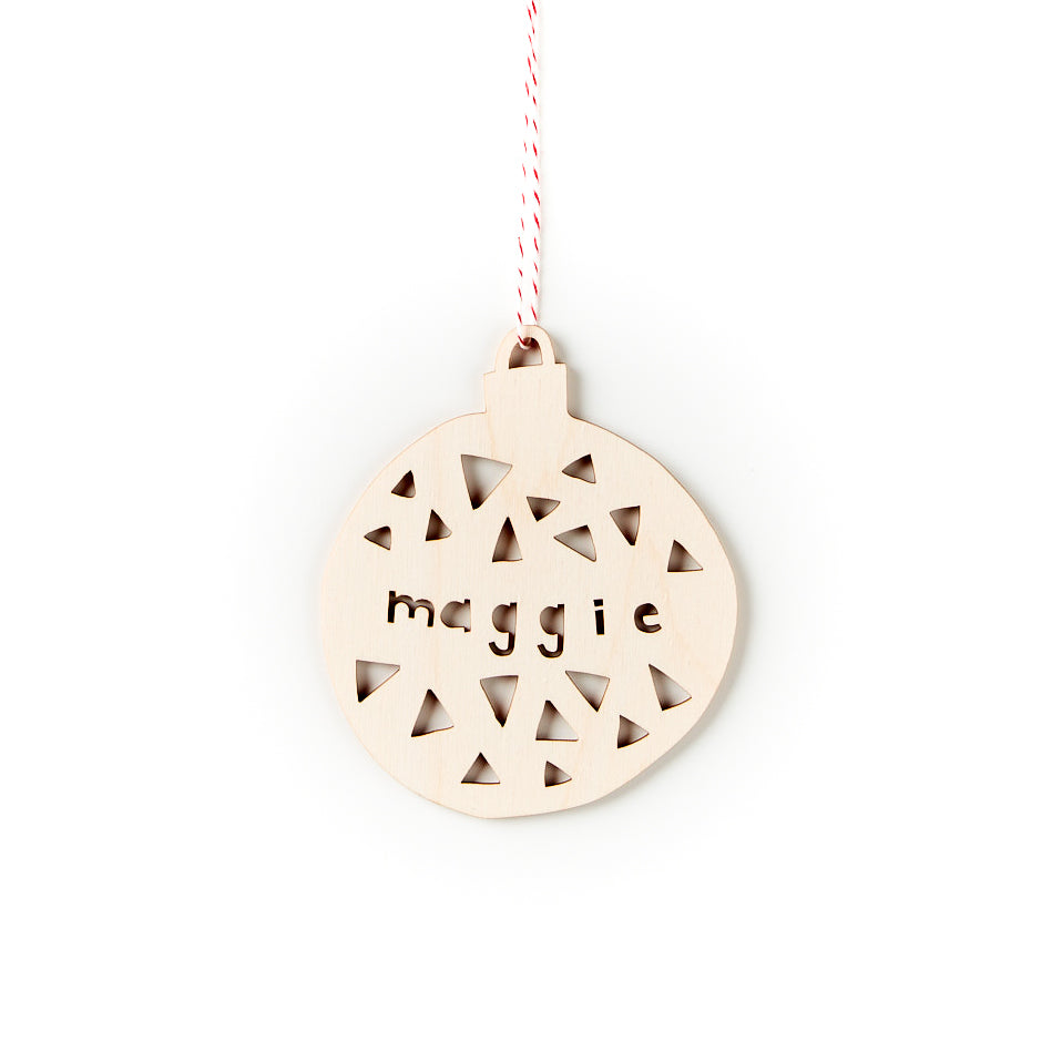 Custom Holiday Triangles Ball Ornament- Lasercut Birch