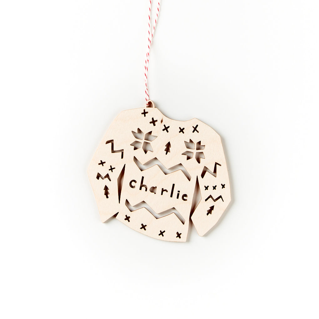 Custom Sweater Ornament- Lasercut Birch