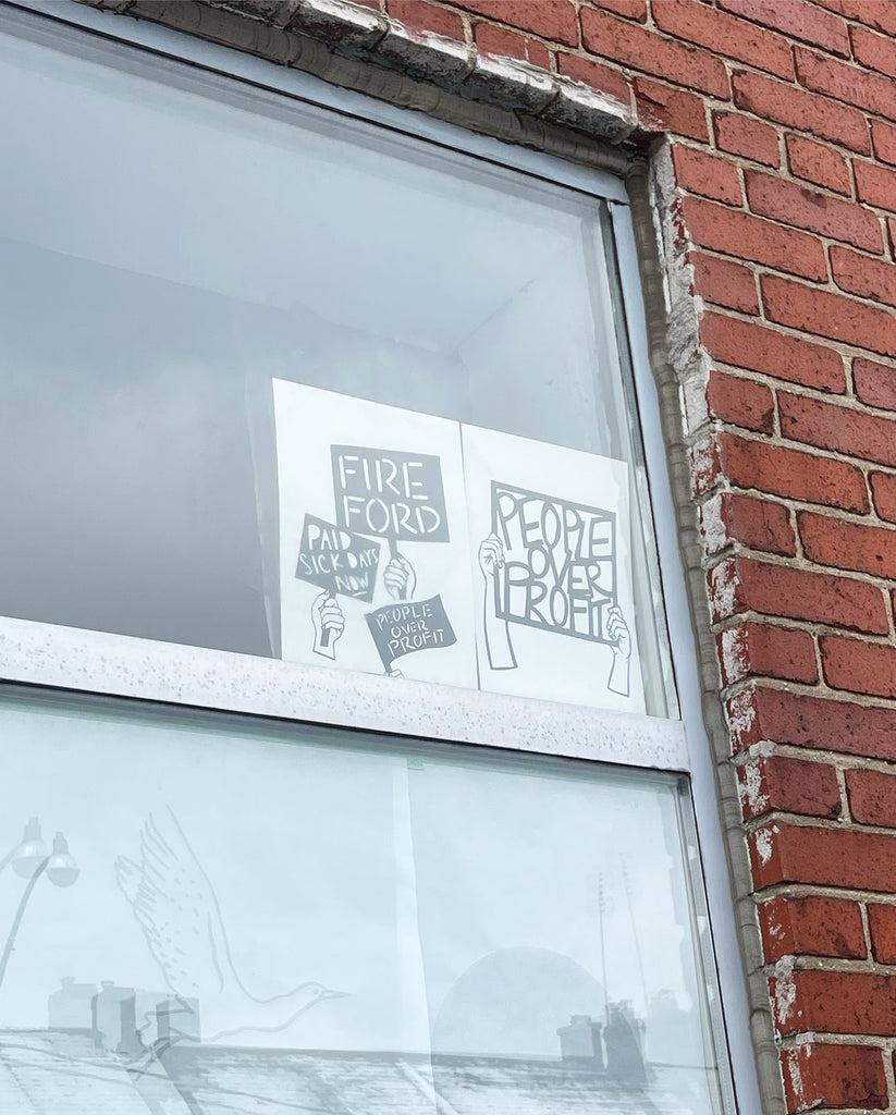 Screenprinted Protest Window Signs