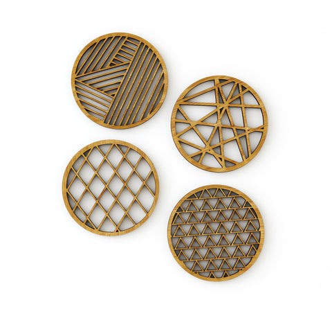 Laser-Cut Artwork - Geometrical Bamboo Coasters (Set of 4)