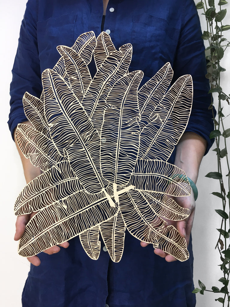 Lasercut Wooden Artwork - Banana Leaves