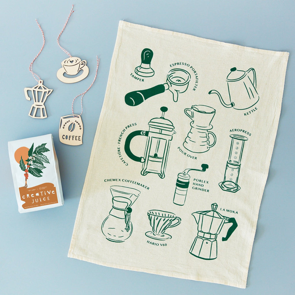coffee lovers gift set - pictured is creative juice bag of beans, coffee themed screenprinted tea towel, and 3 coffee themed lasercut birch ornaments