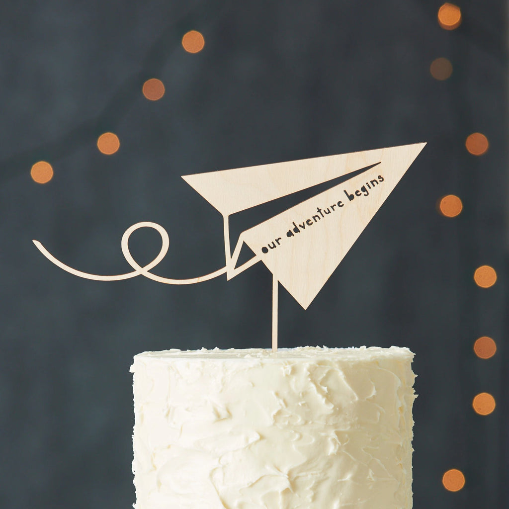 Paper Airplane Adventure Travel Wedding Cake Topper