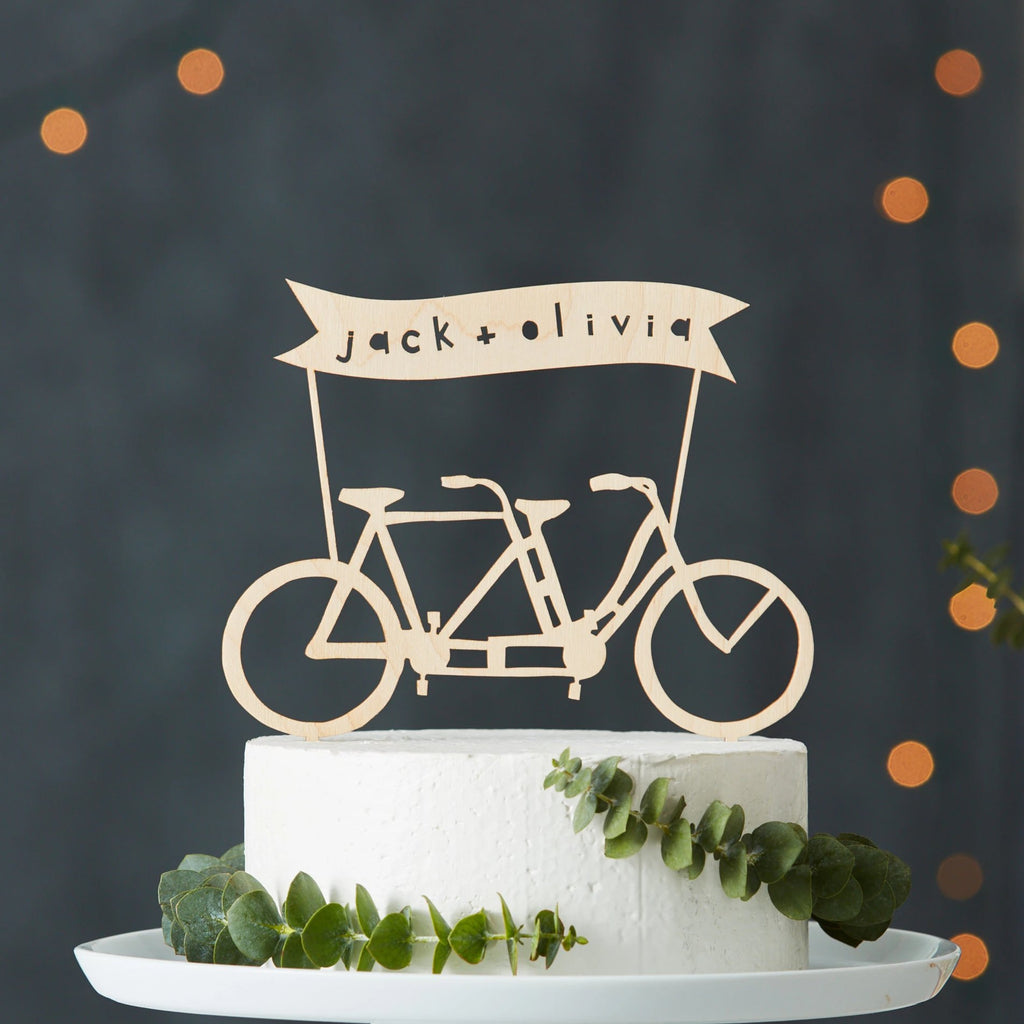 Custom Names Bicycle Wedding Cake Topper