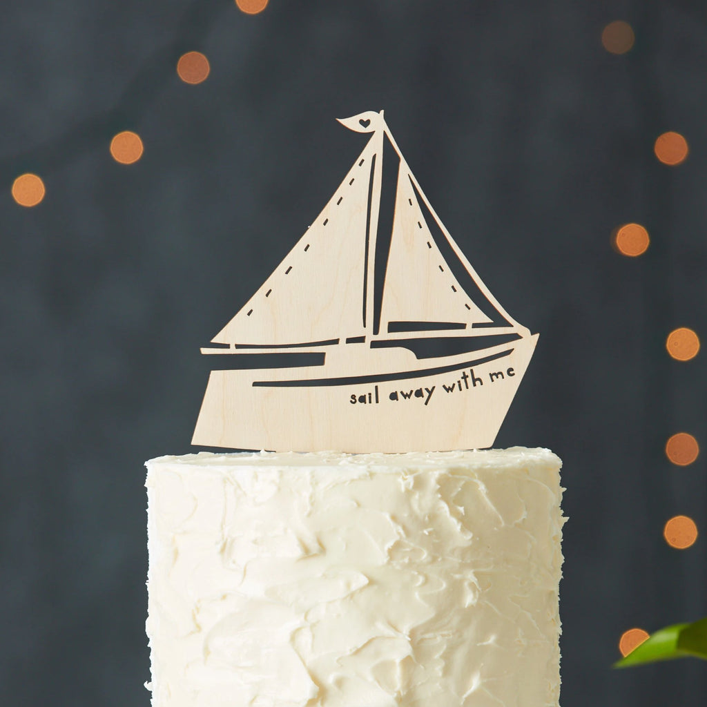 Sailboat Travel Adventure Wedding Cake Topper
