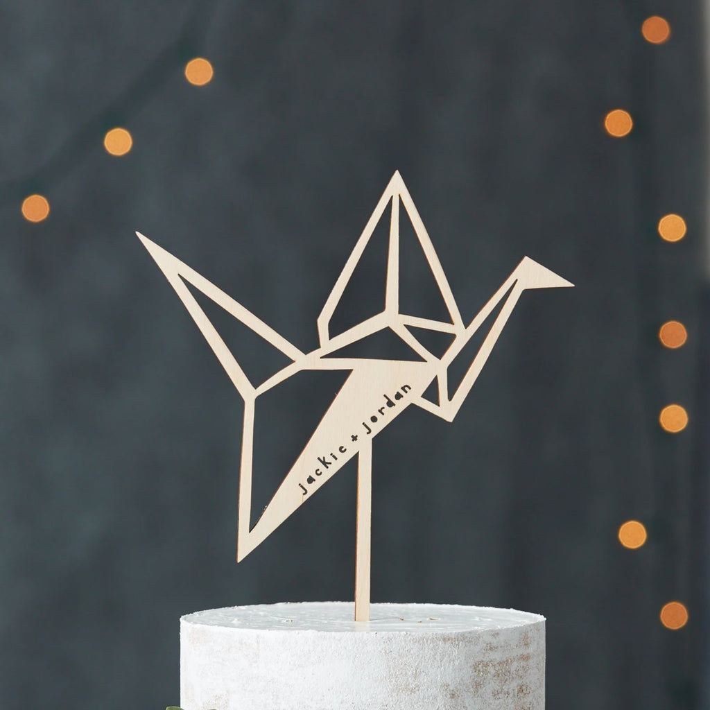 Paper Crane Wedding Cake Topper
