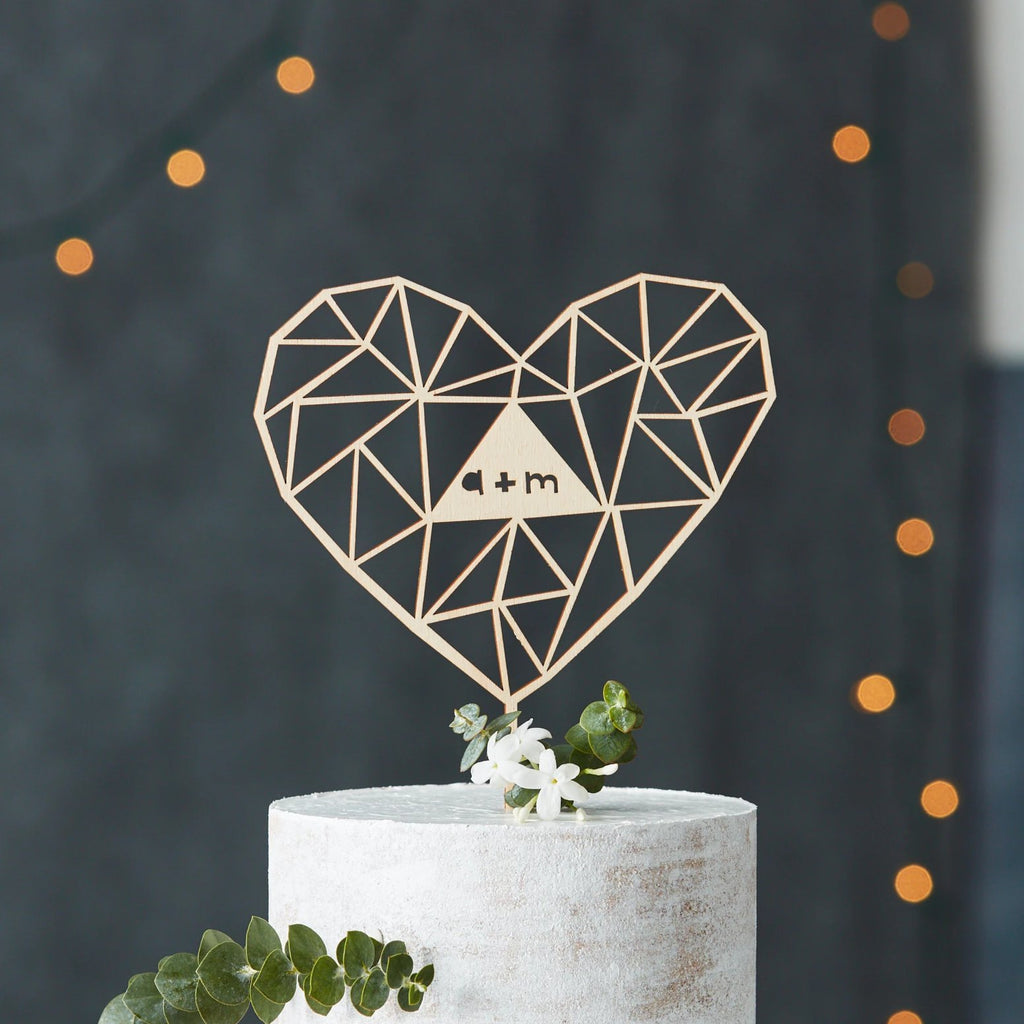Lasercut Customizable Birch Wood Geometric Heart Cake Topper, by Light + Paper, Made in Toronto
