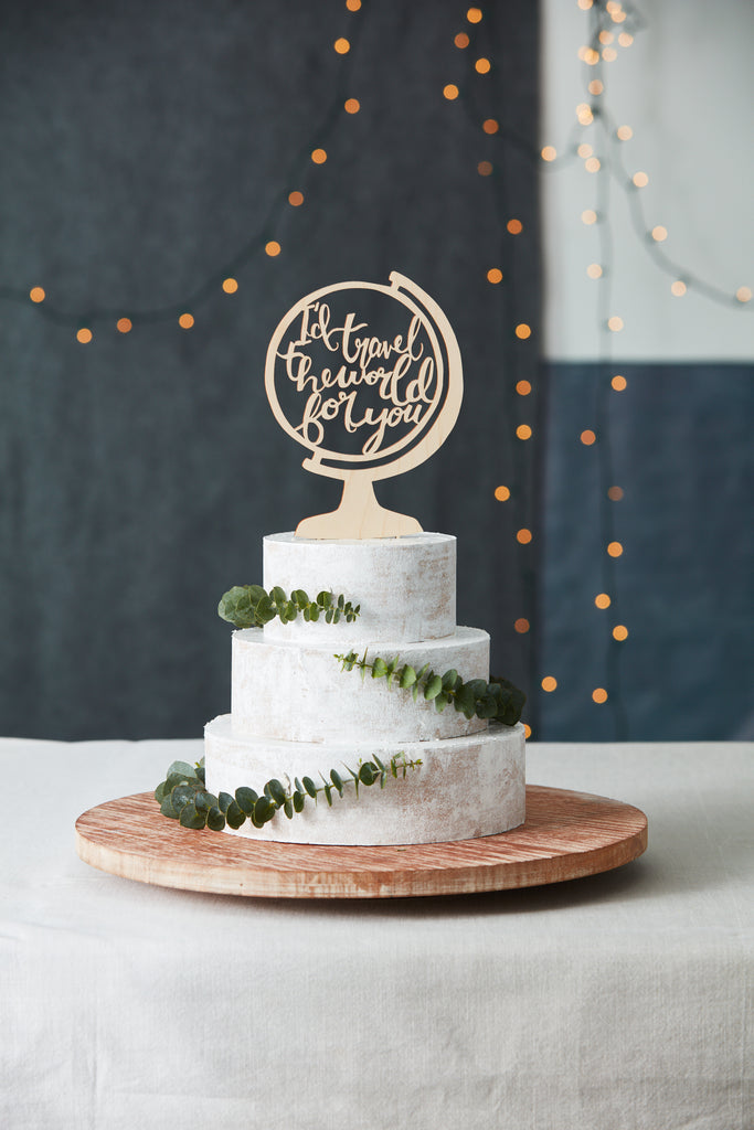 Globe Travel Adventure Travel Wedding Cake Topper