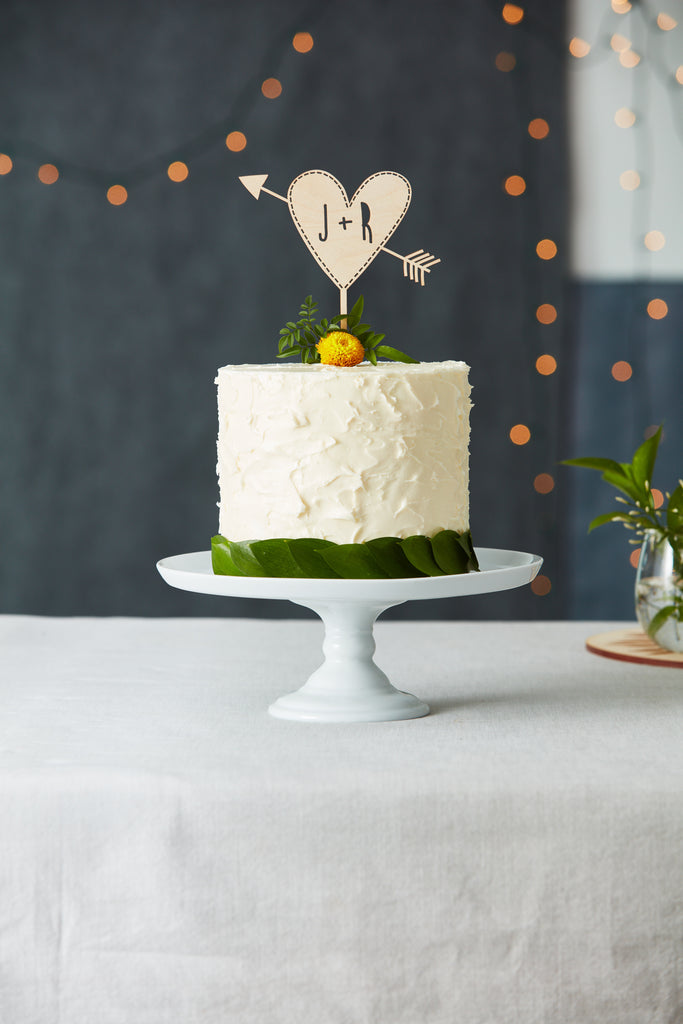 Customized Heart and Arrow Wedding Cake Topper