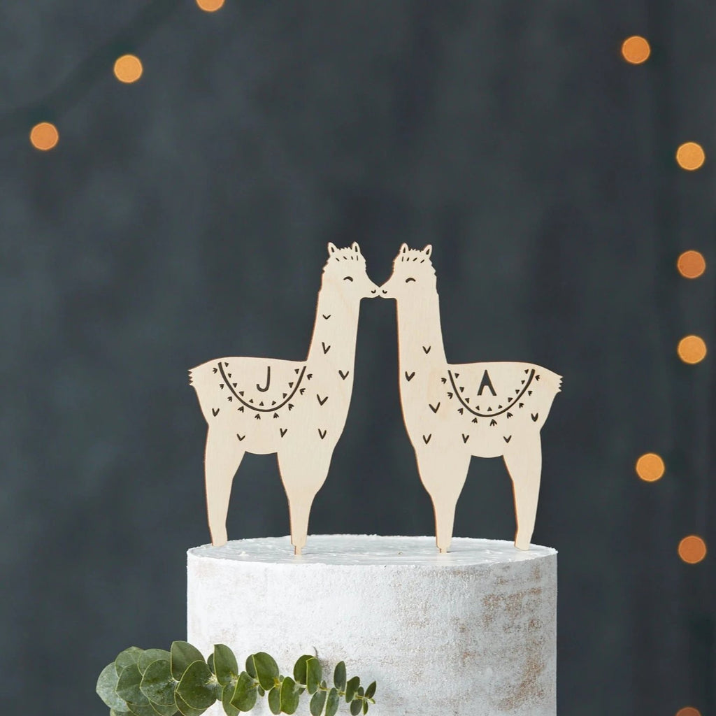 Llama Customizable Wedding Cake Topper