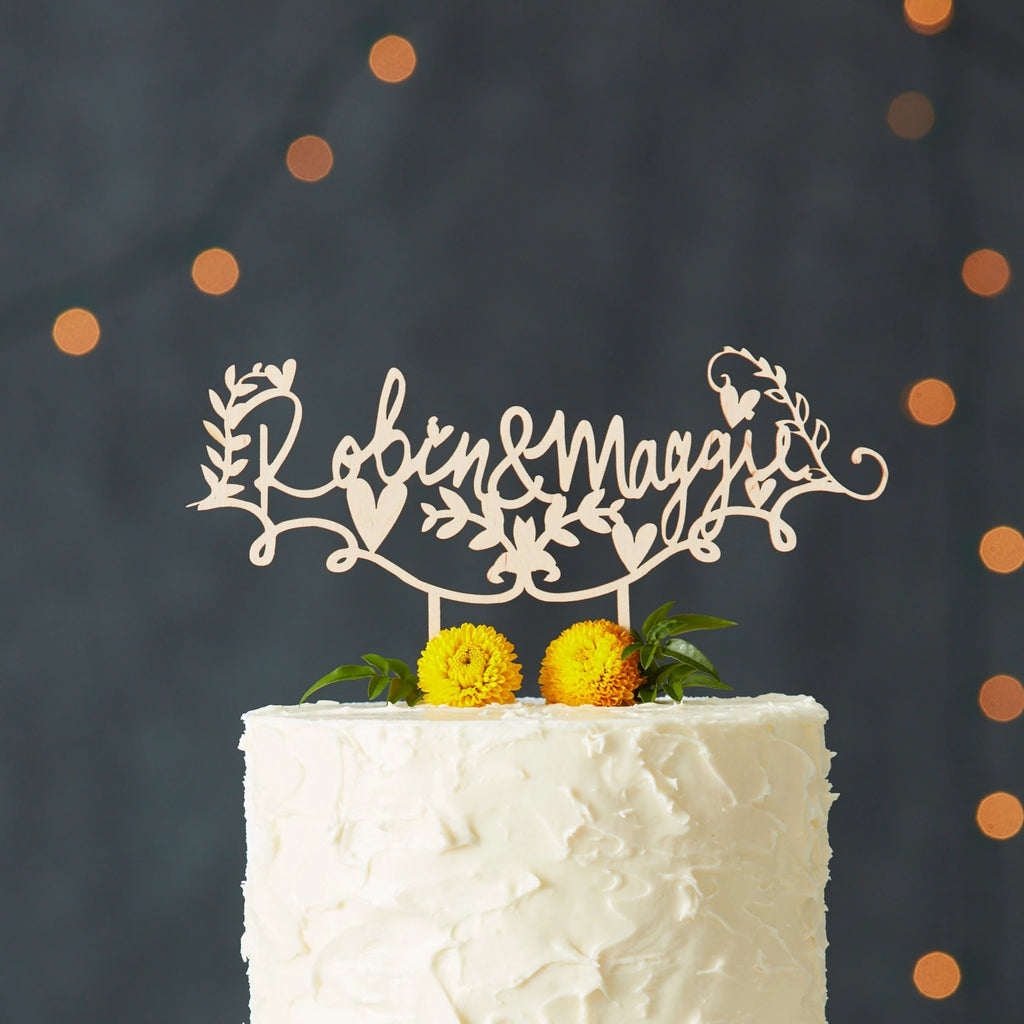 Lasercut Customizable Birch Wood Rustic Floral Names Cake Topper, by Light + Paper, Made in Toronto