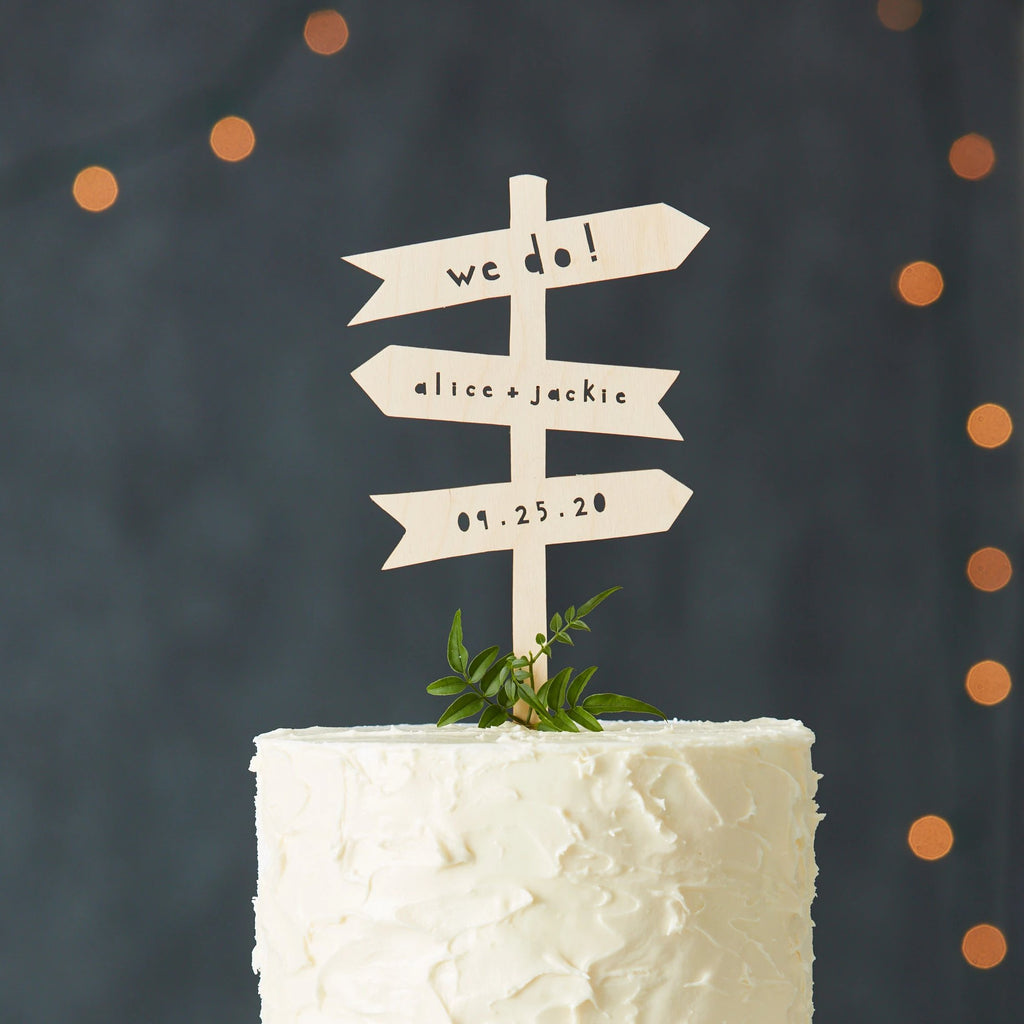 Hiking Trail Signs Wedding Cake Topper