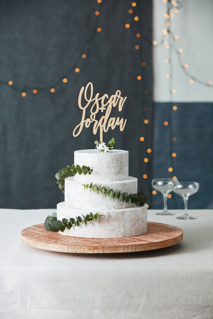 Wood Simple Script Wedding Cake Topper