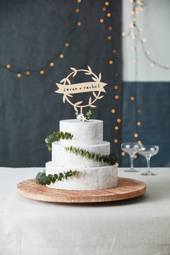 Lasercut Customizable Birch Wood Garland Cake Topper, by Light + Paper, Made in Toronto