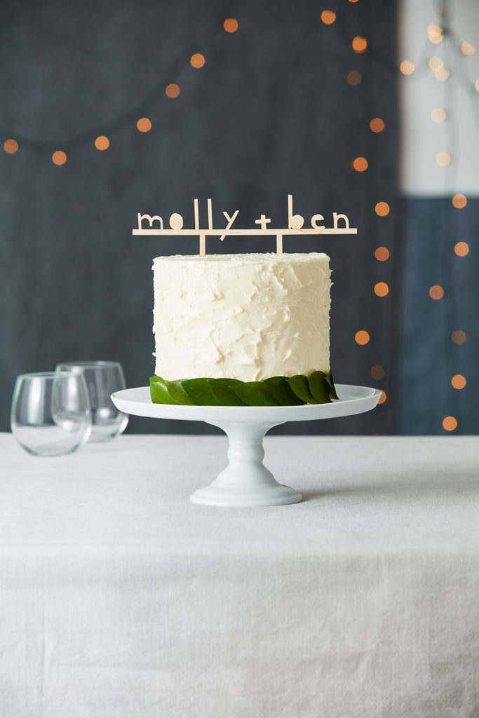 Lasercut Customizable Birch Wood Simple Names Cake Topper, by Light + Paper, Made in Toronto