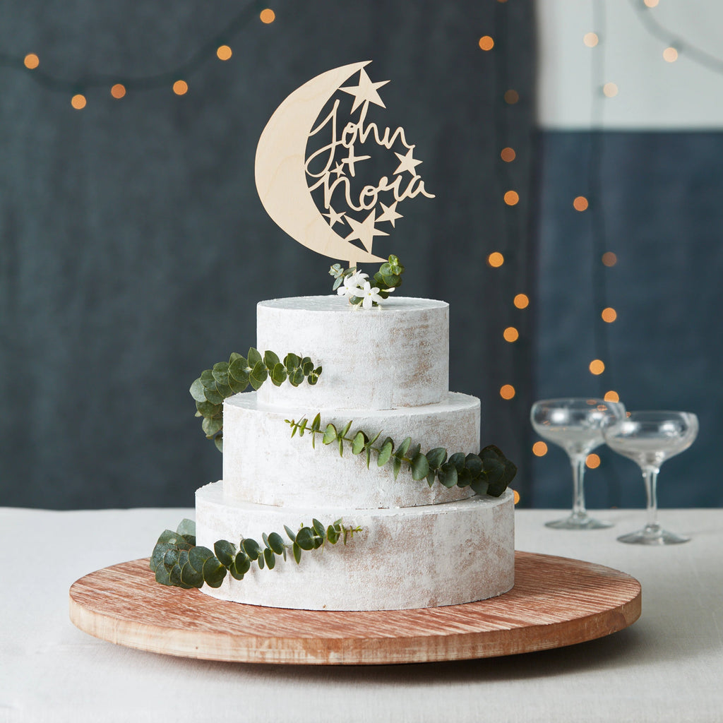 Lasercut Customizable Birch Wood Moon and Stars Cake Topper, by Light + Paper, Made in Toronto
