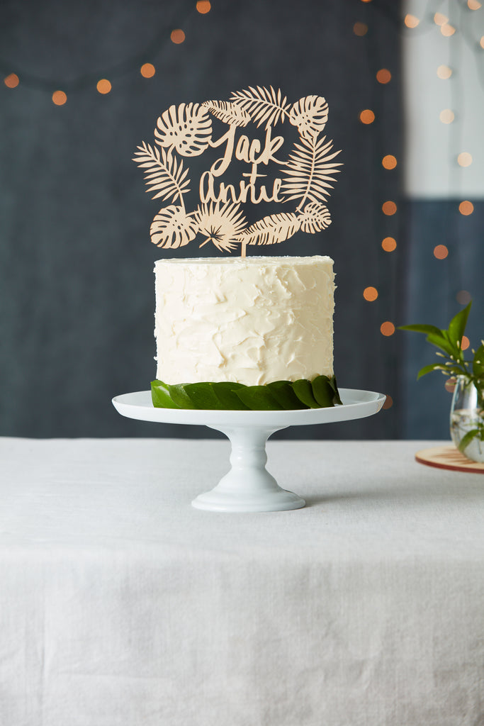 Custom Tropical Leaves Wedding Cake Topper