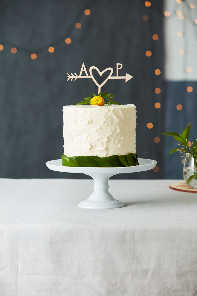 Customized Simple Heart and Arrow Wedding Cake Topper