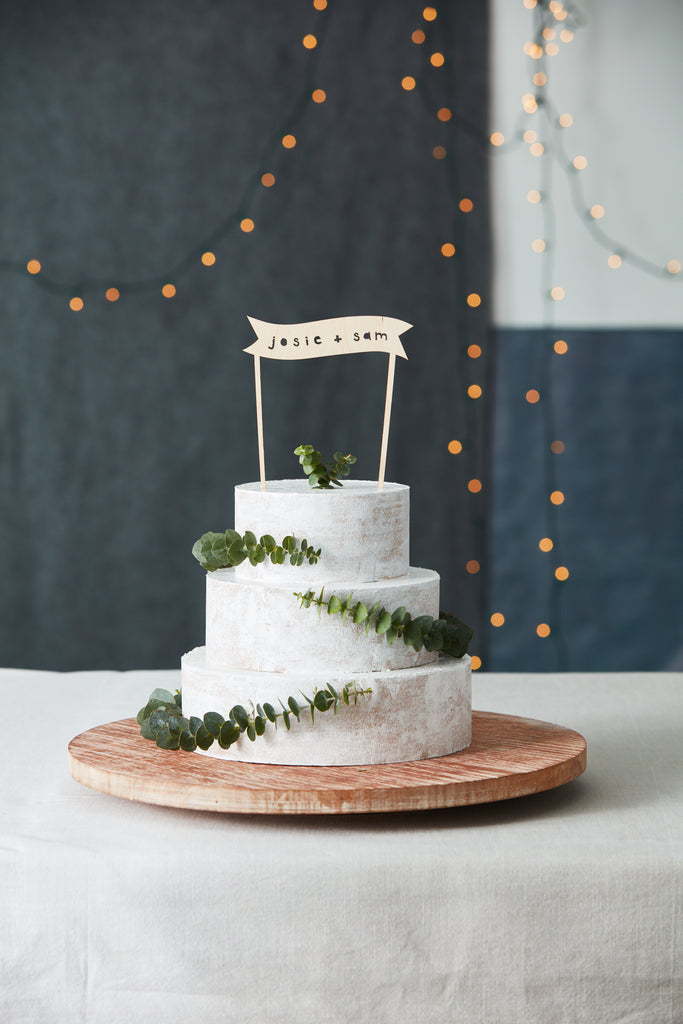 Lasercut Customizable Birch Wood Simple Banner Cake Topper, by Light + Paper, Made in Toronto