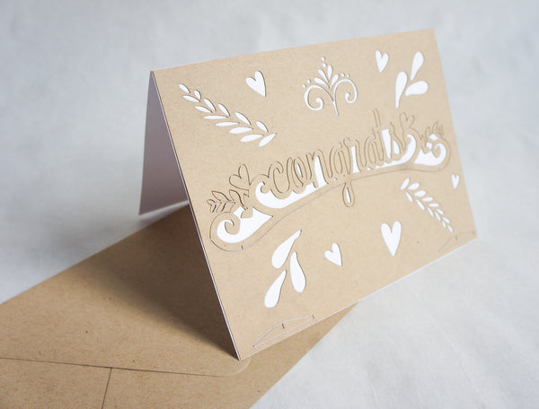 Laser-Cut Pop Out Greeting Card - Congrats