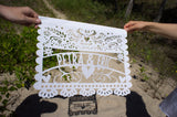 Custom Oversized Papel Picado Inspired Lasercut Wedding Flag