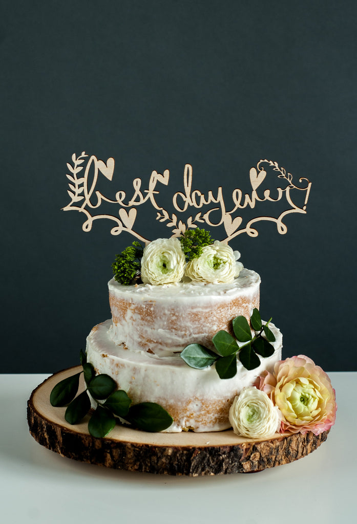 Laser-Cut Wedding Cake Topper - Best Day Ever