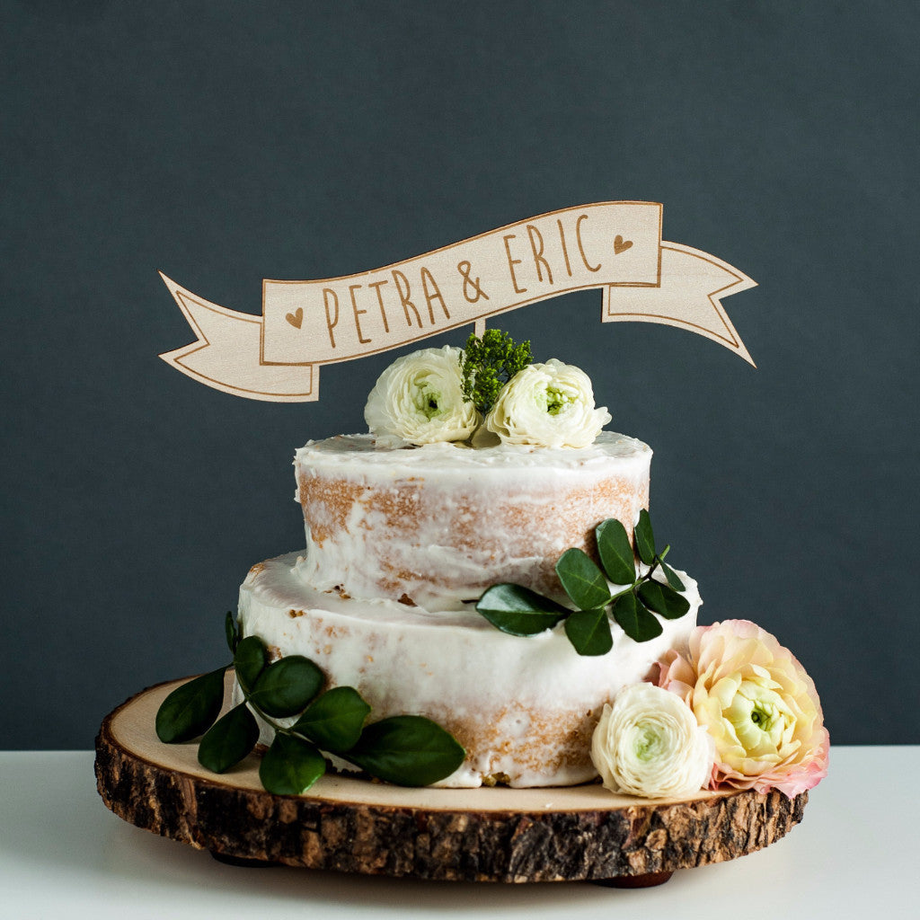 Laser-Cut CUSTOM Banner Wedding Cake Topper - Wooden Banner