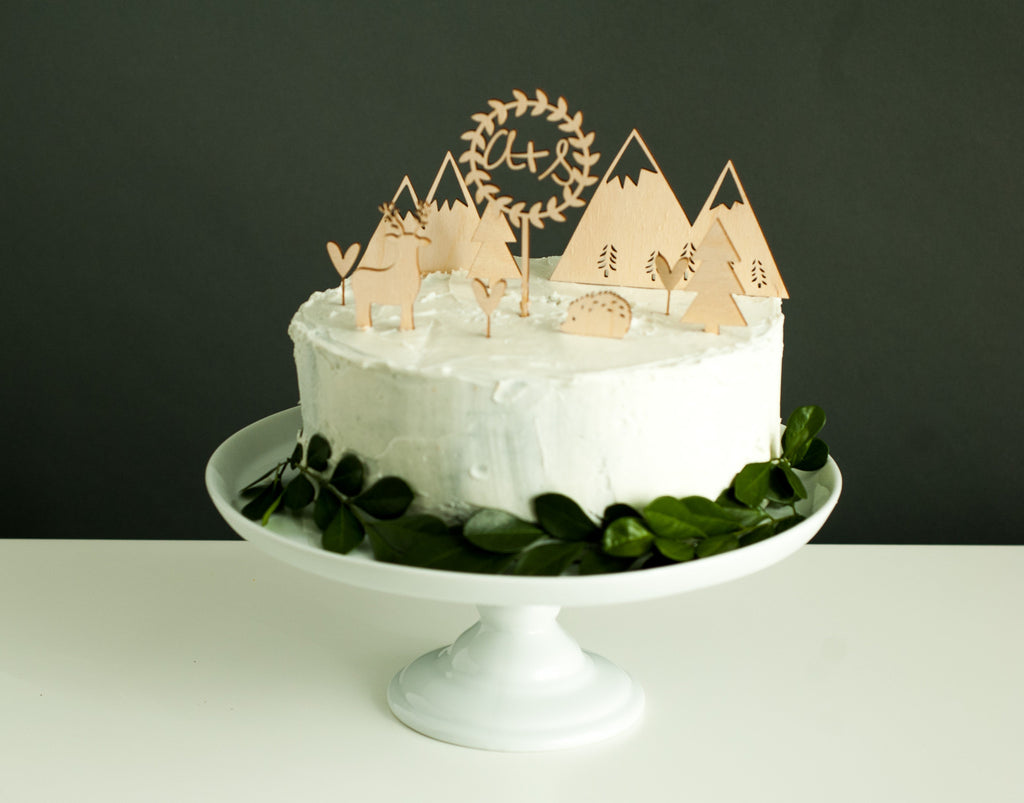Customized Woodlands Wedding Cake Topper