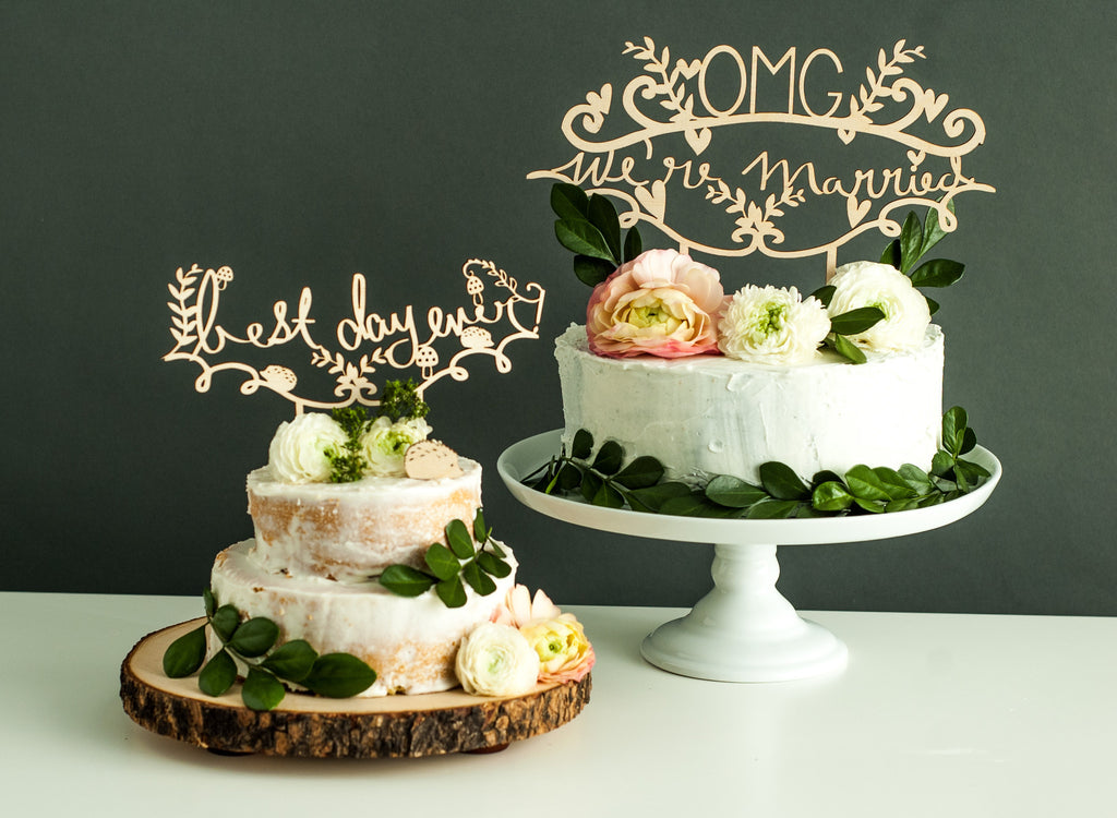 when should we cut the wedding cake laser cut wedding cake topper omg we re married light 27117