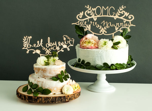 Laser-Cut Wedding Cake Topper - OMG We're Married