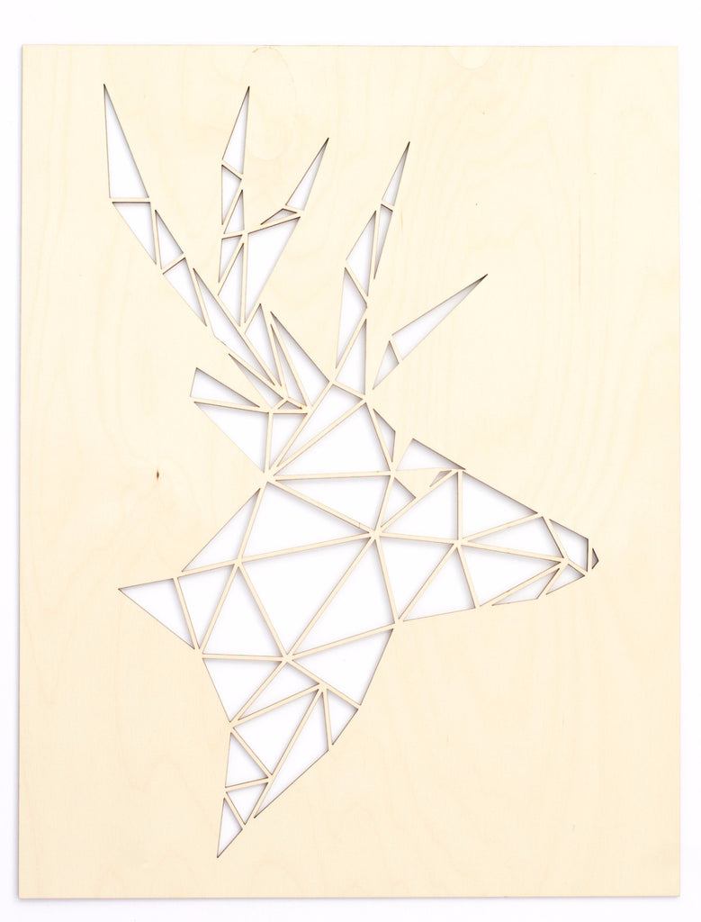 Geometric Deer Lasercut Wooden Artwork