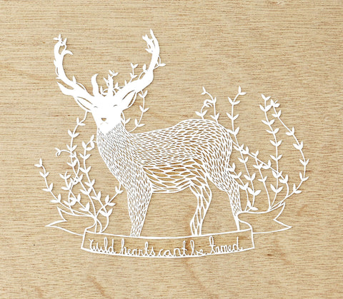 Hand-Cut Papercutting Artwork - Deer with Antlers