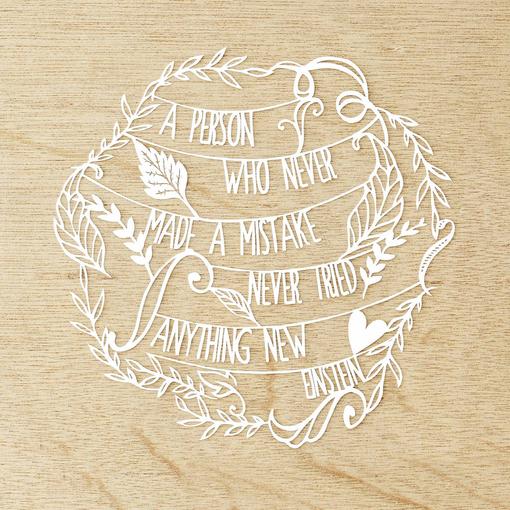 Floral Einstein Quote Papercutting