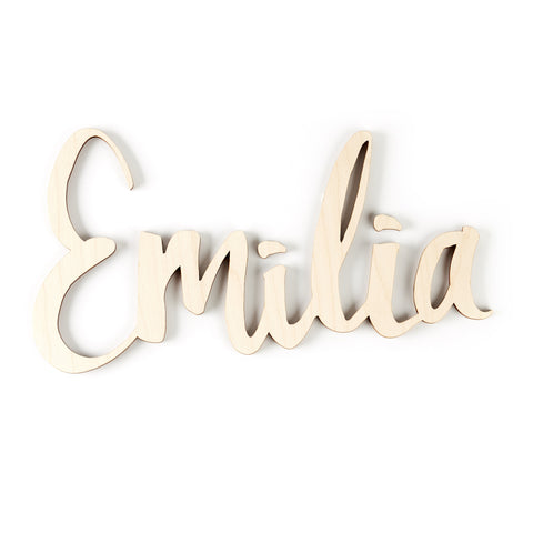 Custom hand-lettered lasercut name