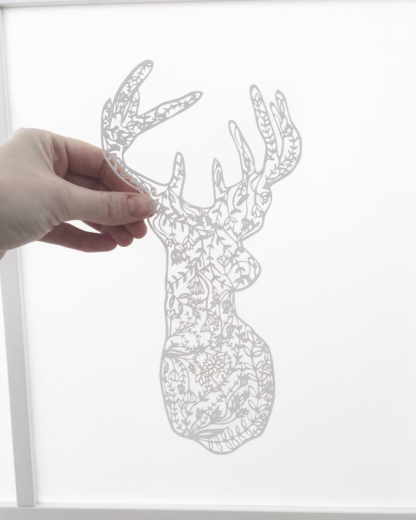 Laser-Cut Papercutting Artwork - Floral Deer