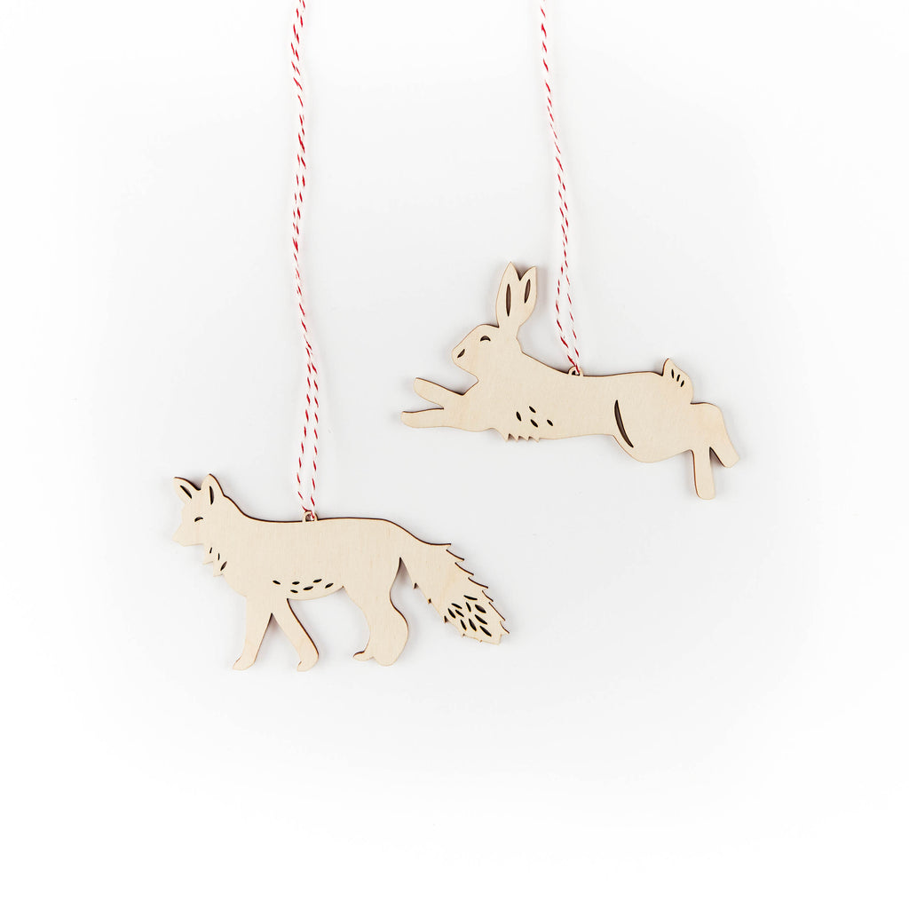 Fox and Hare Ornaments