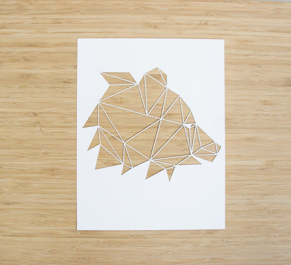 Laser-Cut Papercutting Artwork - Geometric Bear Head