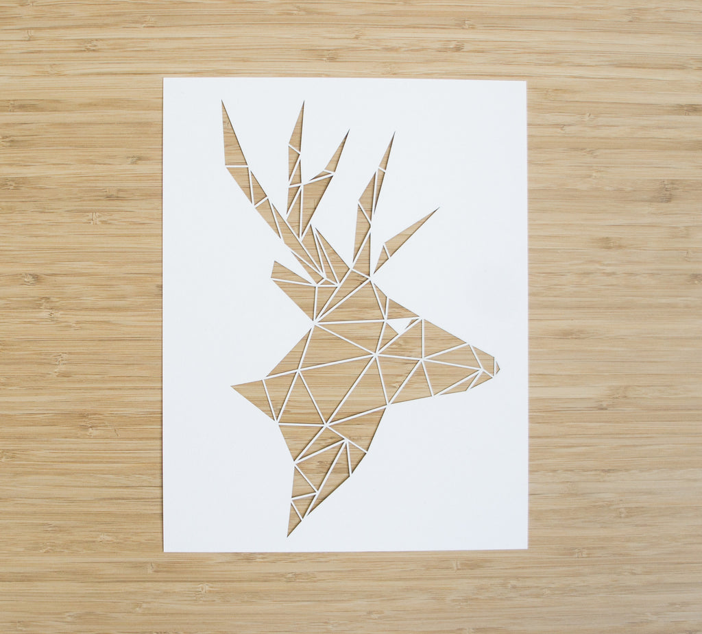 Laser-Cut Papercutting Artwork - Geometric Deer Head
