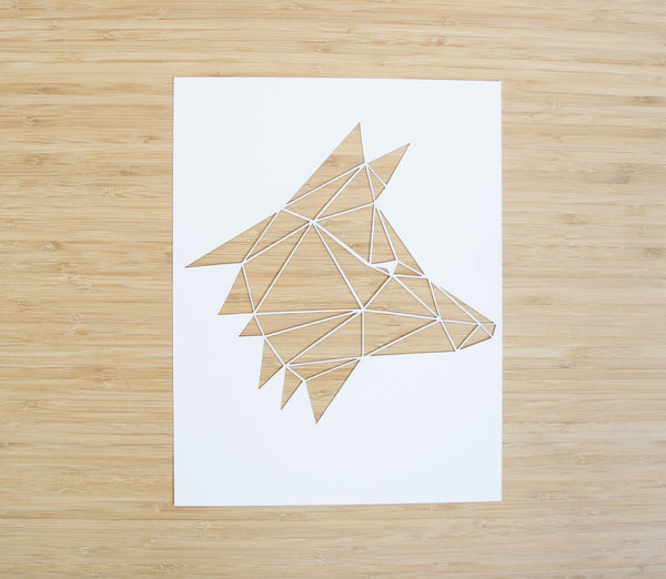 Laser-Cut Papercutting Artwork - Geometric Fox Head