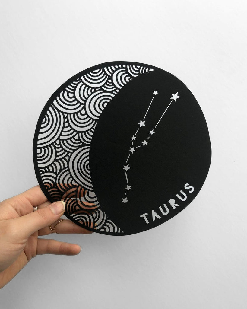 Papercutting art by Ali Harrison of Light + Paper, Lasercut Taurus Astrology Papercutting, Made in Toronto