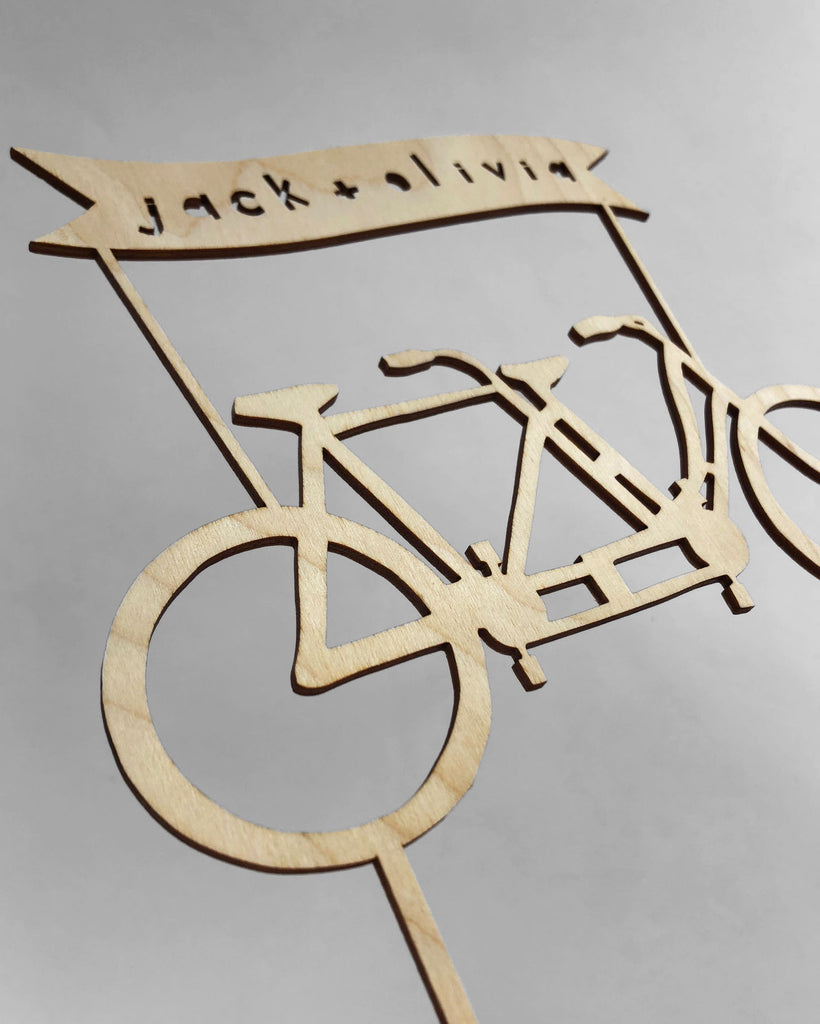 Lasercut Customizable Birch Wood Tandem Bicycle Cake Topper, by Light + Paper, Made in Toronto