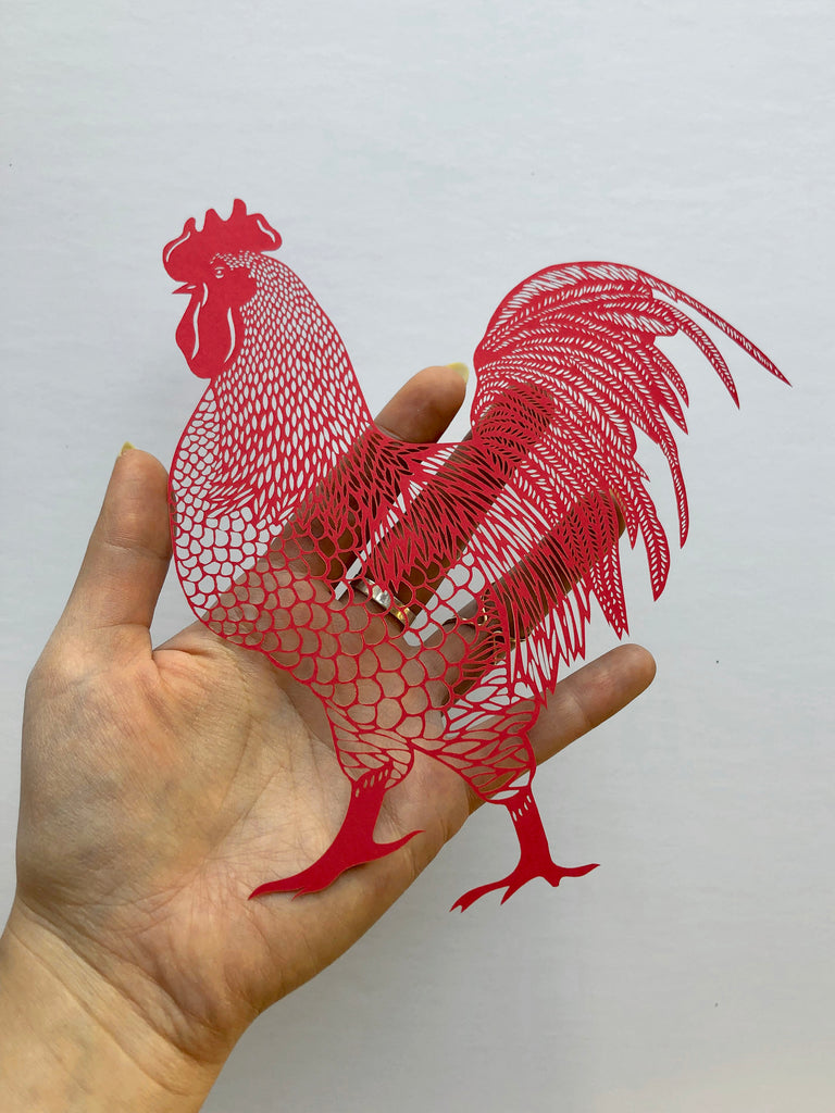 Laser-Cut Papercutting Artwork - Rooster