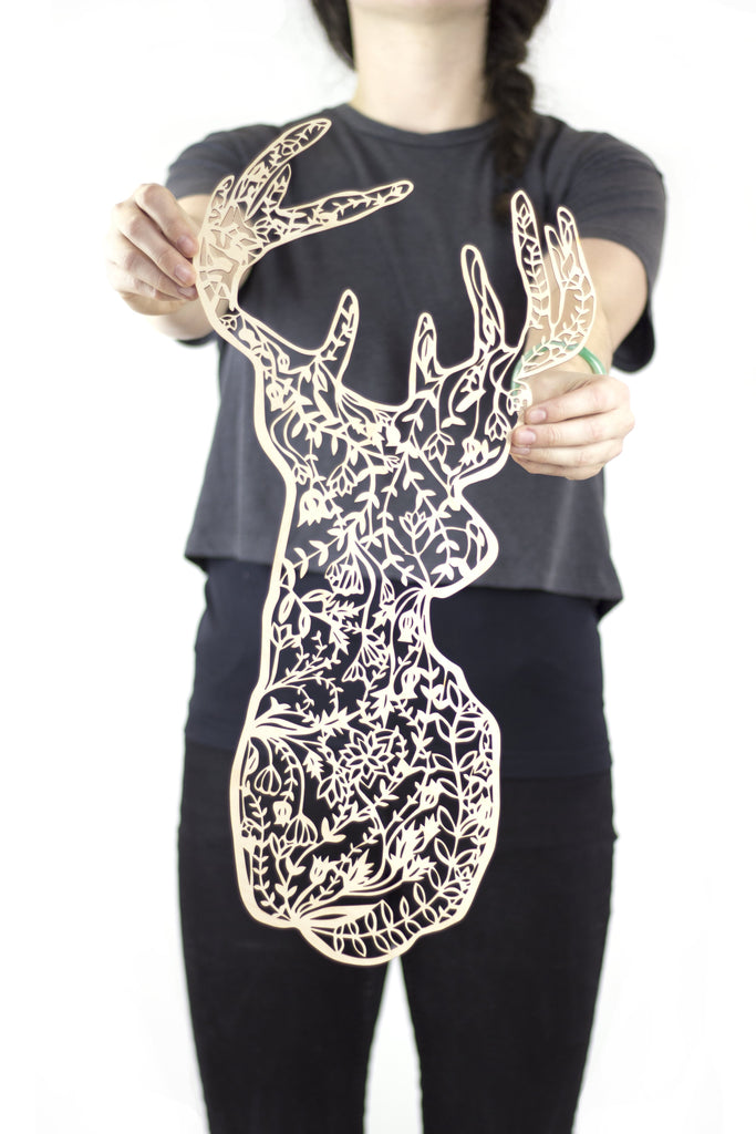 Floral Deer Lasercut Wooden Artwork