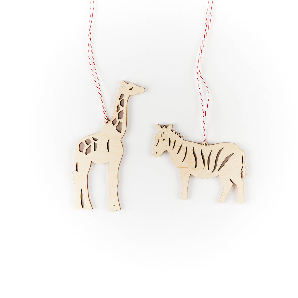 Giraffe and Zebra Ornaments