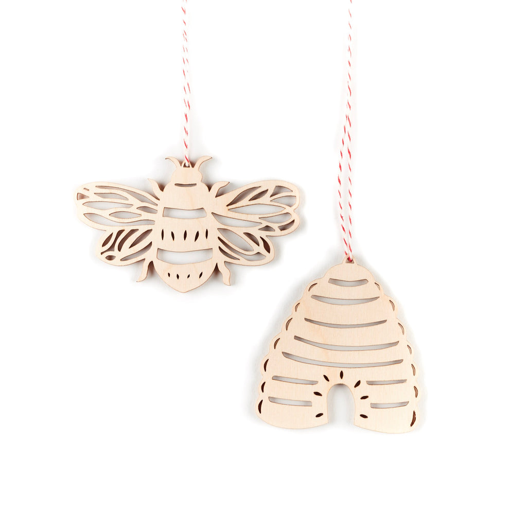 Bee and Hive Ornaments- Lasercut Birch (set of 2)