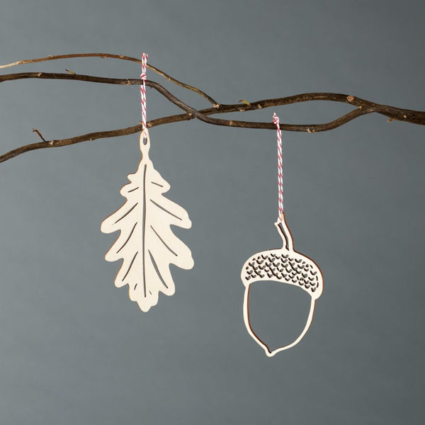 Leaf and Acorn Ornaments- Birch Lasercut (set of 2)